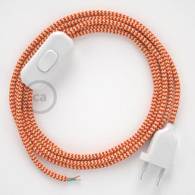 Cablaggio per lampada, cavo RZ15 Effetto Seta ZigZag Arancione 1,80 m. Scegli il colore dell'interruttore e della spina.