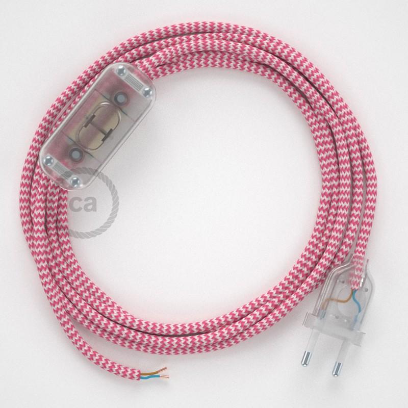 Cablaggio per lampada, cavo RZ08 Effetto Seta ZigZag Fucsia 1,80 m. Scegli il colore dell'interruttore e della spina.