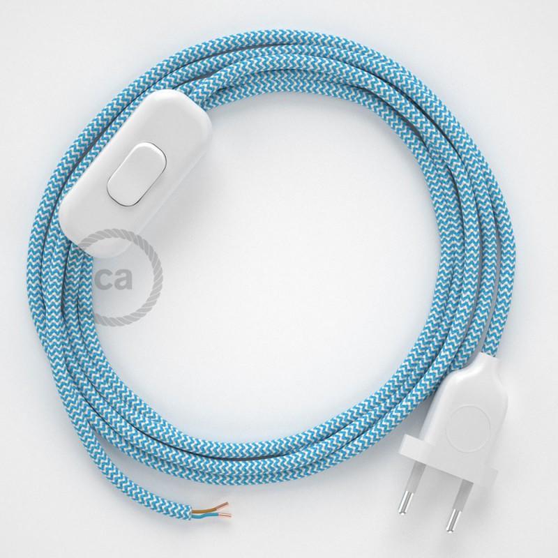 Cablaggio per lampada, cavo RZ11 Effetto Seta ZigZag Azzurro 1,80 m. Scegli il colore dell'interruttore e della spina.