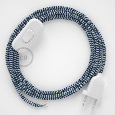 Zuleitung für Tischleuchten RZ12 Zick-Zack Weiß Blau Seideneffekt 1,80 m. Wählen Sie aus drei Farben bei Schalter und Stecke.