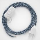 Cablaggio per lampada, cavo RZ12 Effetto Seta ZigZag Blu 1,80 m. Scegli il colore dell'interruttore e della spina.