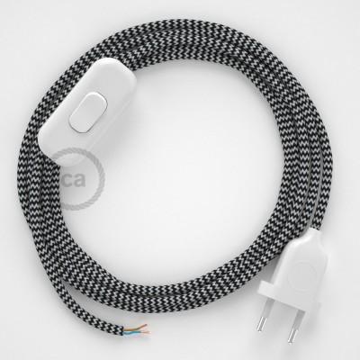 Cablaggio per lampada, cavo RZ04 Effetto Seta ZigZag Nero 1,80 m. Scegli il colore dell'interruttore e della spina.