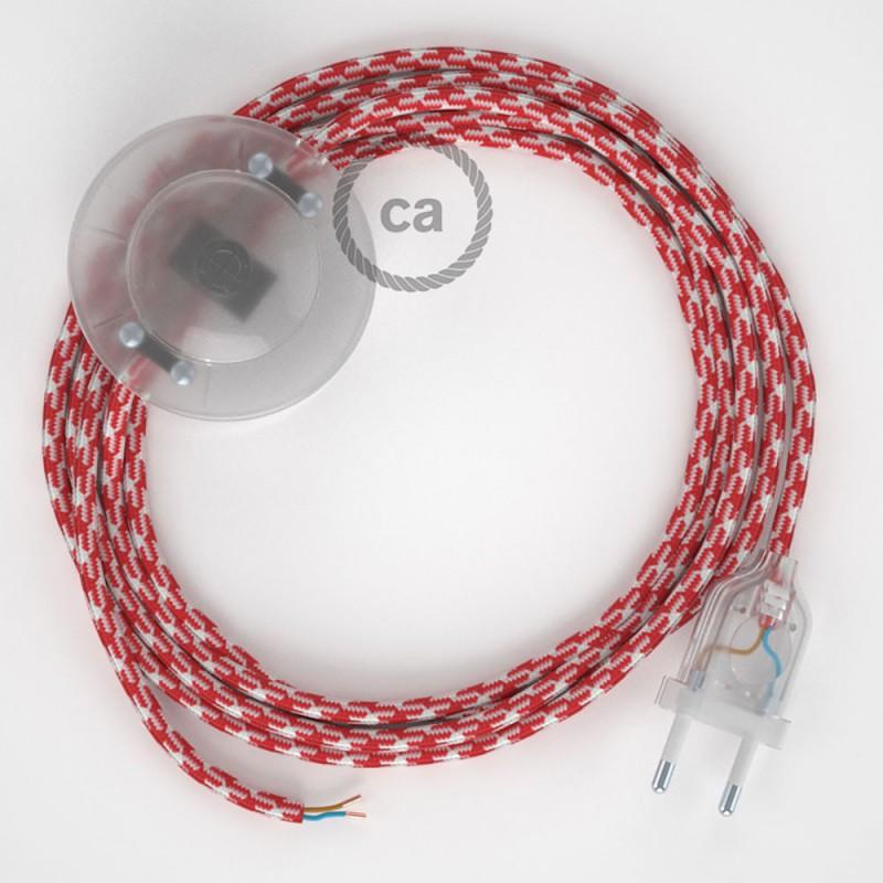 Cordon pour lampadaire, câble RP09 Effet Soie Bicolore Blanc-Rouge 3 m. Choisissez la couleur de la fiche et de l'interrupteur!