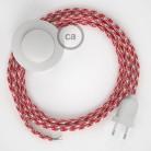 Stehleuchte Anschlussleitung RP09 Bifarbig Weiß Rot Seideneffekt 3 m. Wählen Sie aus drei Farben bei Schalter und Stecke.