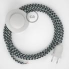 Stehleuchte Anschlussleitung RP04 Bifarbig Weiß Schwarz Seideneffekt 3 m. Wählen Sie aus drei Farben bei Schalter und Stecke.