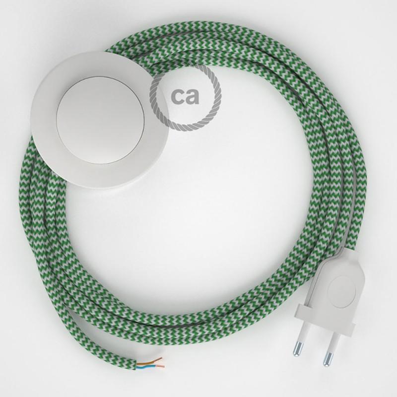 Cordon pour lampadaire, câble RZ06 Effet Soie ZigZag Blanc-Vert 3 m. Choisissez la couleur de la fiche et de l'interrupteur!