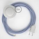Cordon pour lampadaire, câble RZ07 Effet Soie ZigZag Blanc-Lilas 3 m. Choisissez la couleur de la fiche et de l'interrupteur!