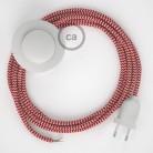 Cordon pour lampadaire, câble RZ09 Effet Soie ZigZag Blanc-Rouge 3 m. Choisissez la couleur de la fiche et de l'interrupteur!