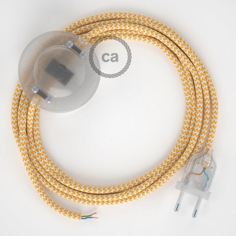Stehleuchte Anschlussleitung RZ10 Zick-Zack Weiß Gelb Seideneffekt 3 m. Wählen Sie aus drei Farben bei Schalter und Stecke.