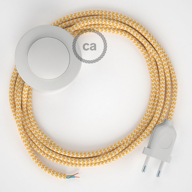 Cordon pour lampadaire, câble RZ10 Effet Soie ZigZag Blanc-Jaune 3 m. Choisissez la couleur de la fiche et de l'interrupteur!