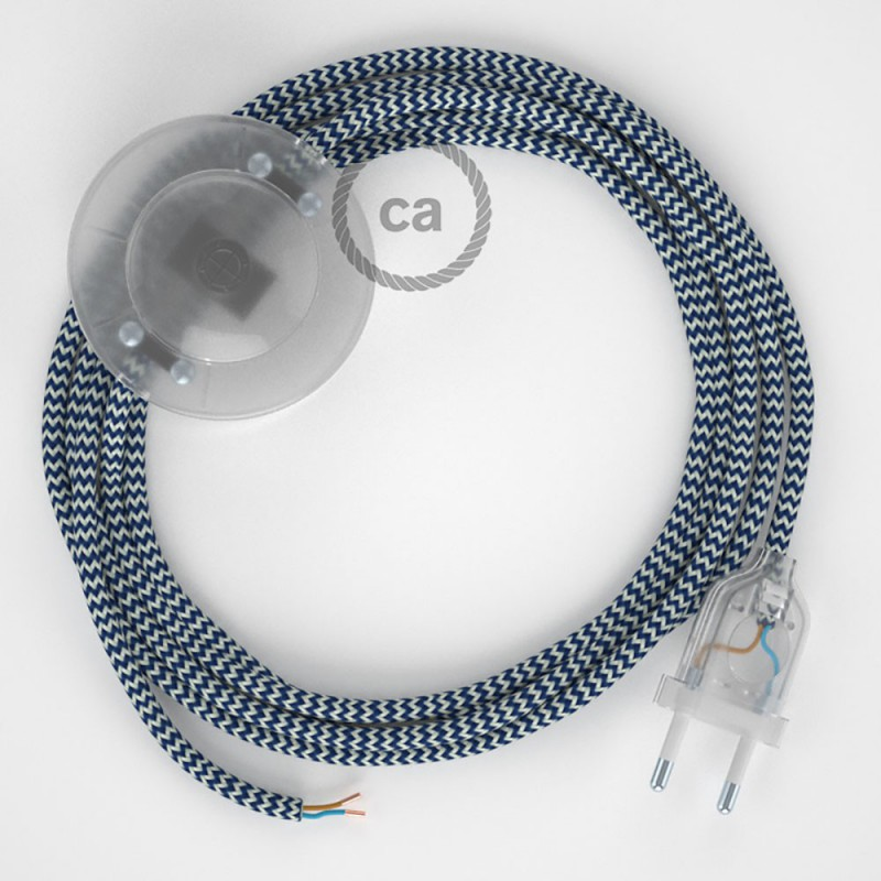 Cablaggio per piantana, cavo RZ12 Effetto Seta ZigZag Blu 3 m. Scegli il colore dell'interruttore e della spina.
