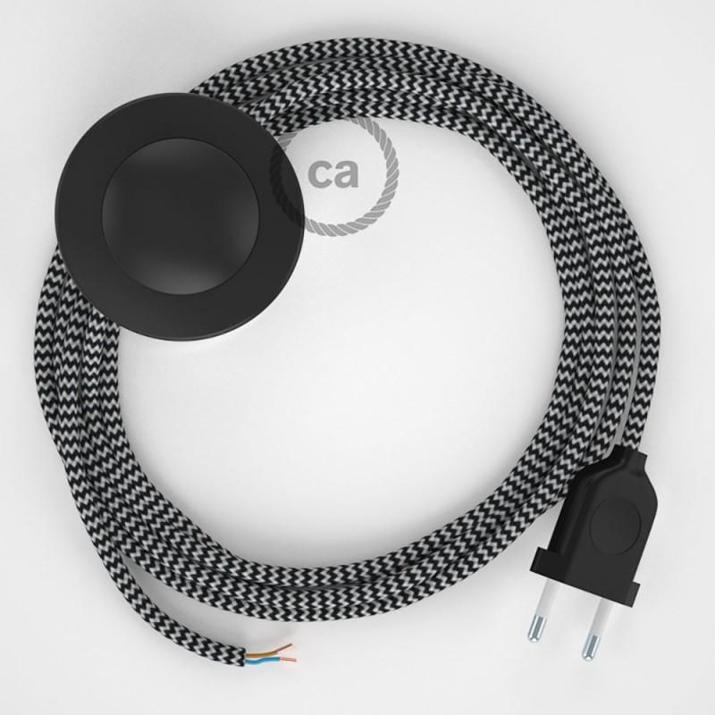 Stehleuchte Anschlussleitung RZ04 Zick-Zack Weiß Schwarz Seideneffekt 3 m. Wählen Sie aus drei Farben bei Schalter und Stecke.