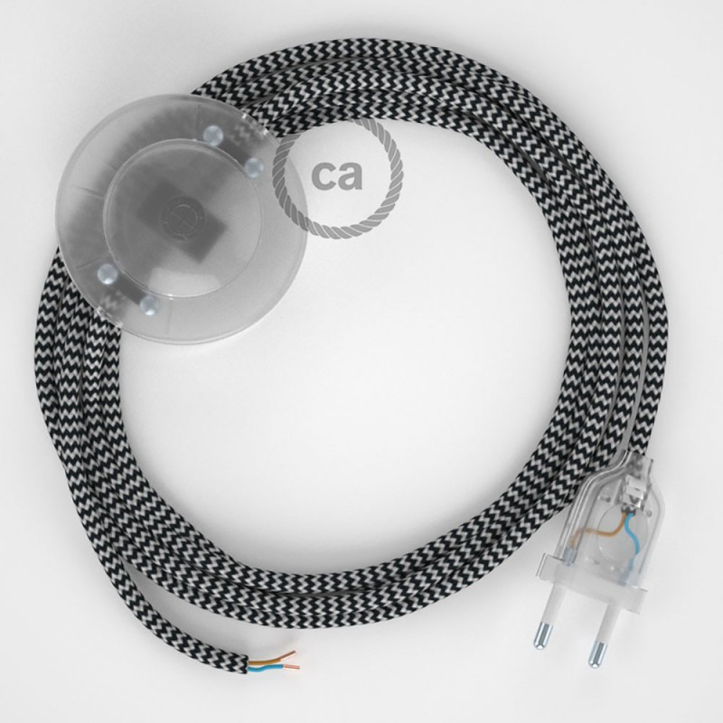 Cablaggio per piantana, cavo RZ04 Effetto Seta ZigZag Nero 3 m. Scegli il colore dell'interruttore e della spina.