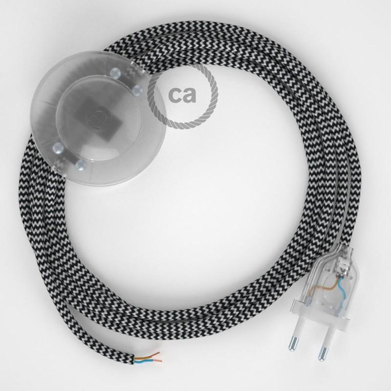 Cordon pour lampadaire, câble RZ04 Effet Soie ZigZag Blanc-Noir 3 m. Choisissez la couleur de la fiche et de l'interrupteur!