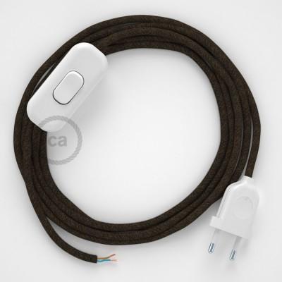 Cablaggio per lampada, cavo RN04 Lino Naturale Marrone 1,80 m. Scegli il colore dell'interruttore e della spina.