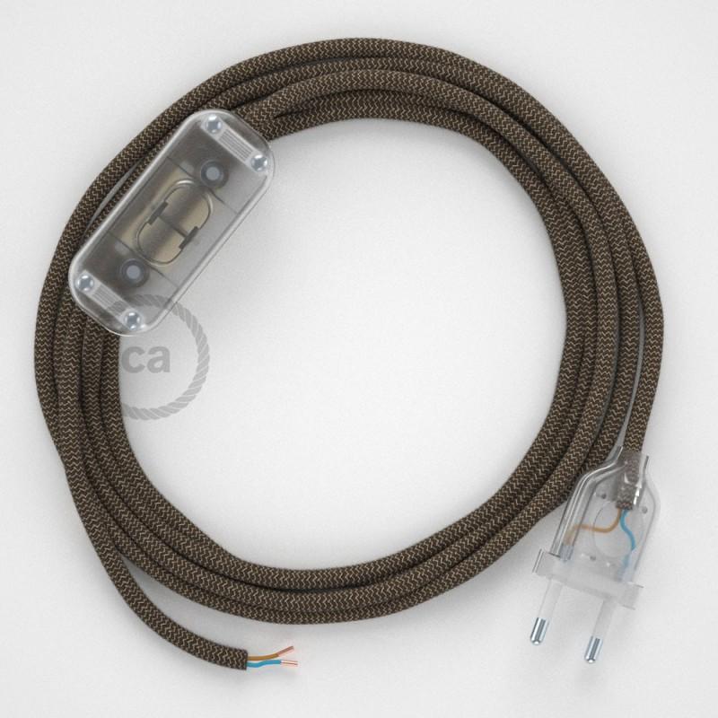 Cablaggio per lampada, cavo RD73 ZigZag Corteccia 1,80 m. Scegli il colore dell'interruttore e della spina.