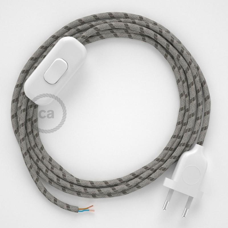 Cablaggio per lampada, cavo RD53 Stripes Corteccia 1,80 m. Scegli il colore dell'interruttore e della spina.