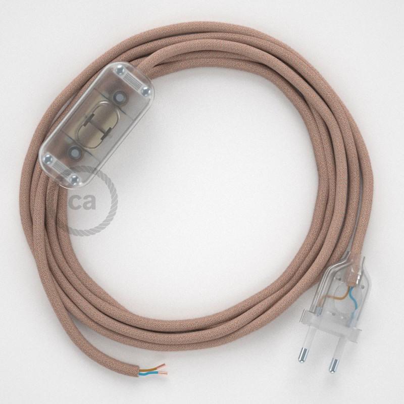 Zuleitung für Tischleuchten RD71 Zick-Zack Antikrosa 1,80 m. Wählen Sie aus drei Farben bei Schalter und Stecke.
