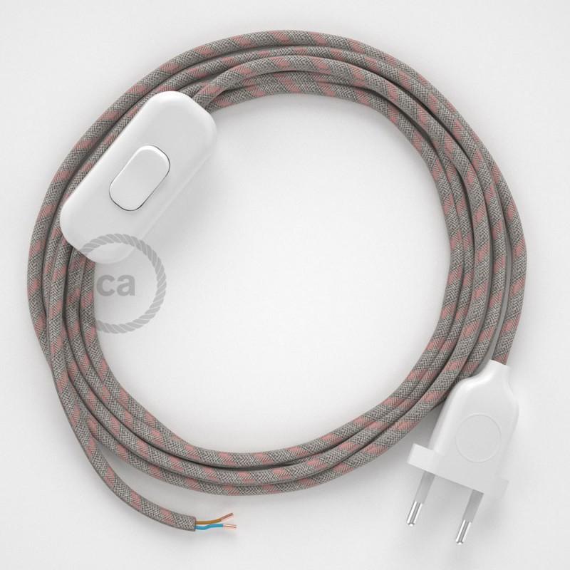 Cordon pour lampe, câble RD51 Stripes Vieux Rose 1,80 m. Choisissez la couleur de la fiche et de l'interrupteur!