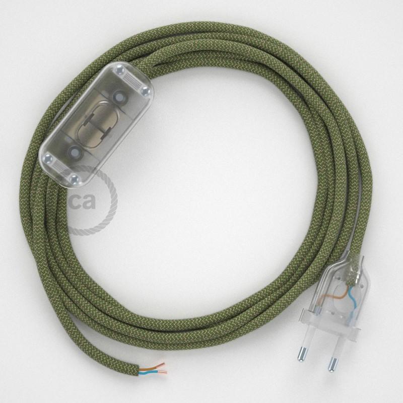 Cablaggio per lampada, cavo RD72 ZigZag Verde Timo 1,80 m. Scegli il colore dell'interruttore e della spina.
