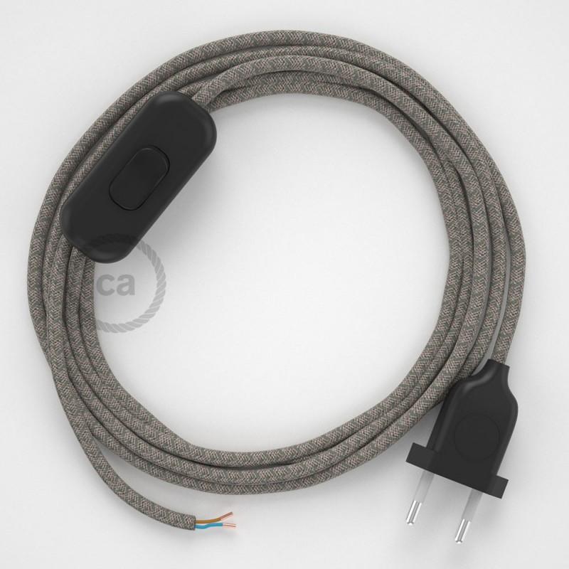 Cablaggio per lampada, cavo RD62 Losanga Verde Timo 1,80 m. Scegli il colore dell'interruttore e della spina.