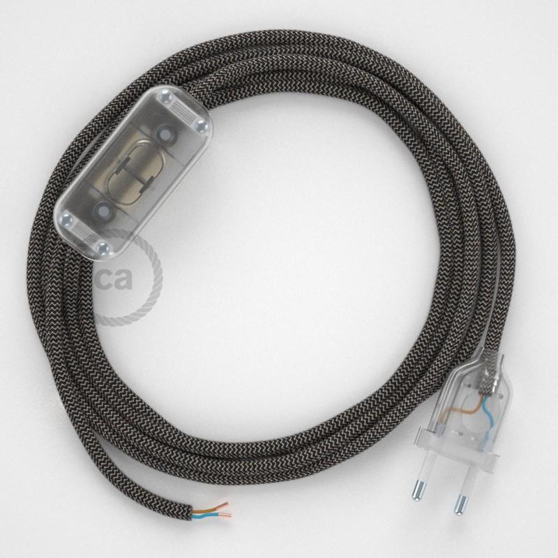 Cordon pour lampe, câble RD74 ZigZag Anthracite 1,80 m. Choisissez la couleur de la fiche et de l'interrupteur!