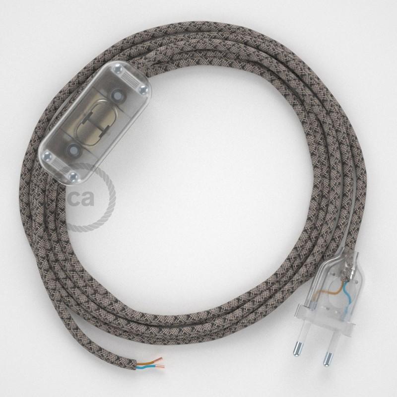 Cablaggio per lampada, cavo RD64 Losanga Antracite 1,80 m. Scegli il colore dell'interruttore e della spina.