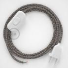 Cordon pour lampe, câble RD64 Losange Anthracite 1,80 m. Choisissez la couleur de la fiche et de l'interrupteur!