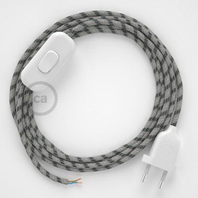 Cablaggio per lampada, cavo RD54 Stripes Antracite 1,80 m. Scegli il colore dell'interruttore e della spina.