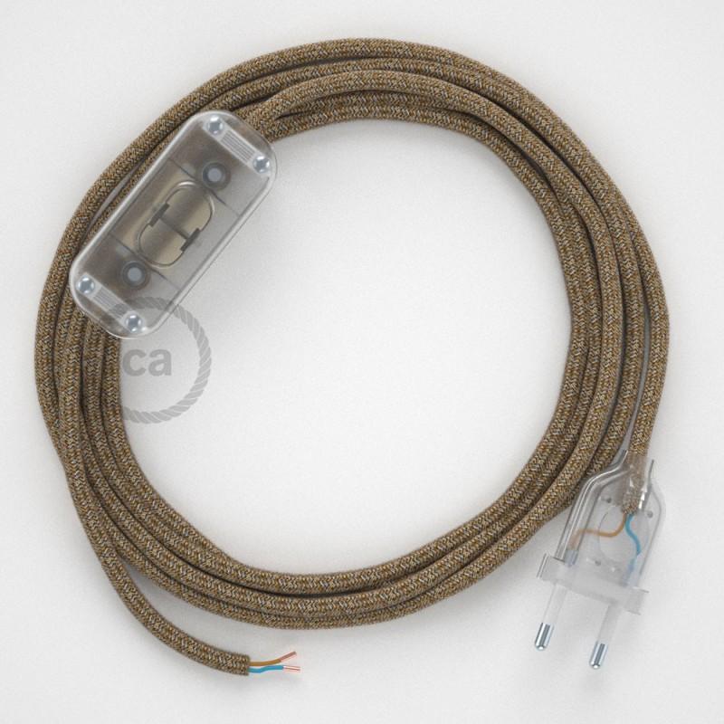Cablaggio per lampada, cavo RS82 Cotone Glitterato Marrone 1,80 m. Scegli il colore dell'interruttore e della spina.