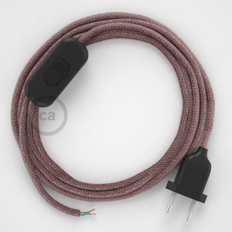 Cordon pour lampe, câble RS83 Coton et Lin Naturel Rouge 1,80 m. Choisissez la couleur de la fiche et de l'interrupteur!