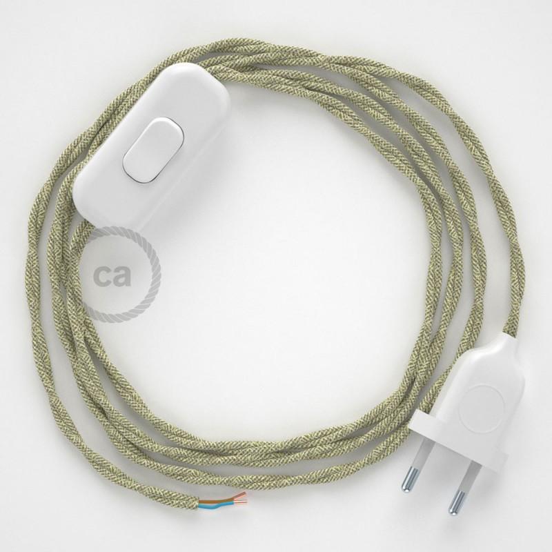 Cablaggio per lampada, cavo TN01 Lino Naturale Neutro 1,80 m. Scegli il colore dell'interruttore e della spina.