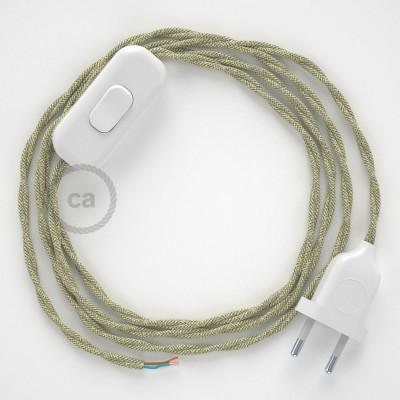 Cordon pour lampe, câble TN01 Lin Naturel Neutre 1,80 m. Choisissez la couleur de la fiche et de l'interrupteur!