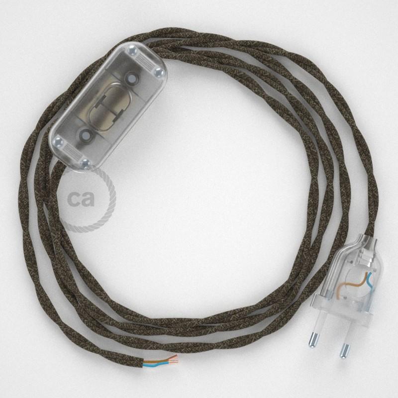 Cordon pour lampe, câble TN04 Lin Naturel Marron 1,80 m. Choisissez la couleur de la fiche et de l'interrupteur!