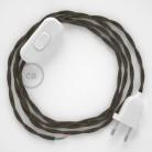 Cablaggio per lampada, cavo TN04 Lino Naturale Marrone 1,80 m. Scegli il colore dell'interruttore e della spina.