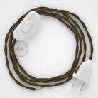 Cablaggio per lampada, cavo TC13 Cotone Marrone 1,80 m. Scegli il colore dell'interruttore e della spina.
