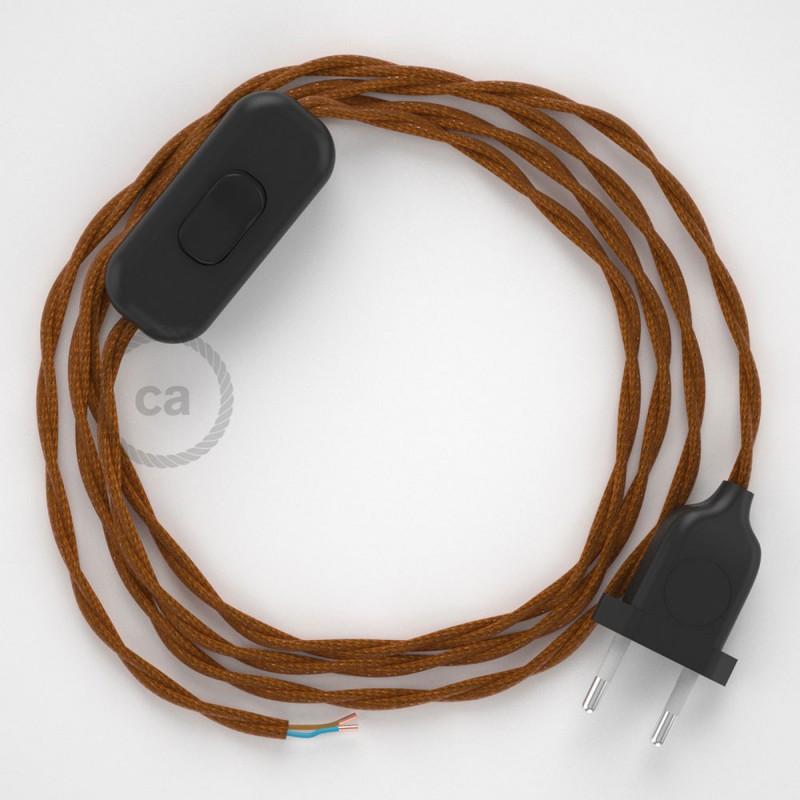 Cablaggio per lampada, cavo TM22 Effetto Seta Whiskey 1,80 m. Scegli il colore dell'interruttore e della spina.