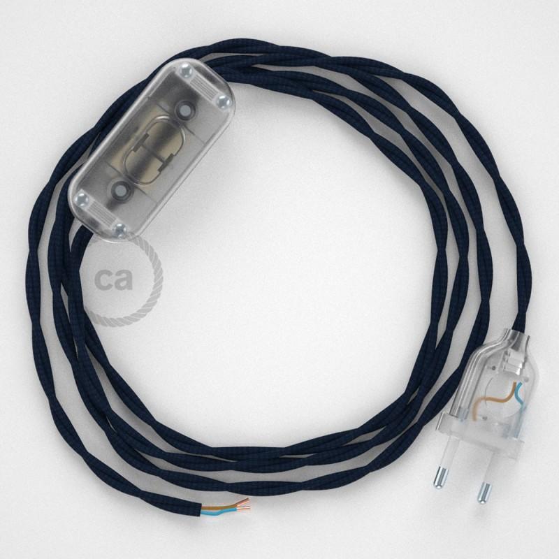 Cordon pour lampe, câble TM20 Effet Soie Bleu Foncé 1,80 m. Choisissez la couleur de la fiche et de l'interrupteur!