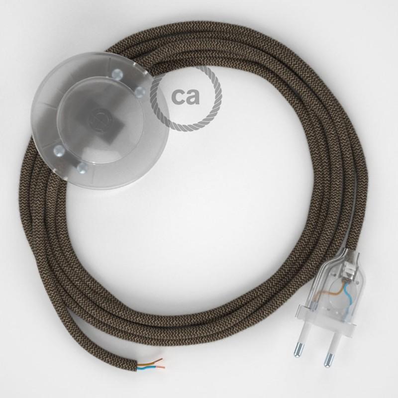 Cablaggio per piantana, cavo RD73 Cotone e Lino Naturale ZigZag Corteccia 3 m. Scegli il colore dell'interruttore e della spina.