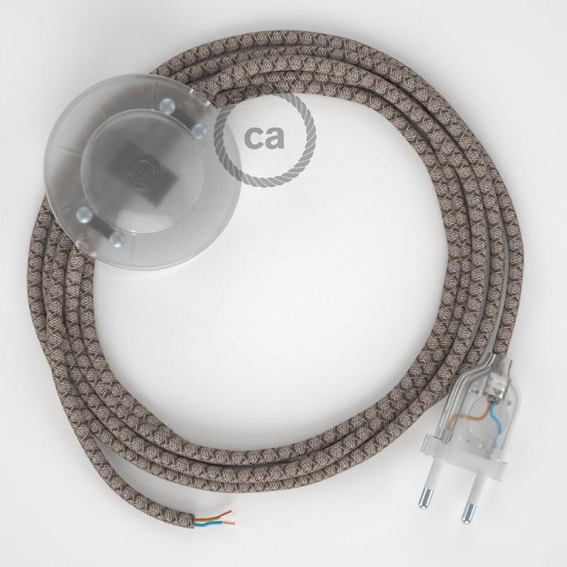 Cordon pour lampadaire, câble RD63 Losange Marron Écorce 3 m. Choisissez la couleur de la fiche et de l'interrupteur!