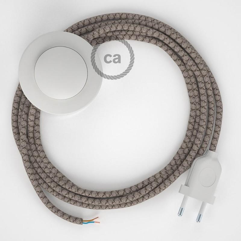 Stehleuchte Anschlussleitung RD63 Raute Rinde 3 m. Wählen Sie aus drei Farben bei Schalter und Stecke.