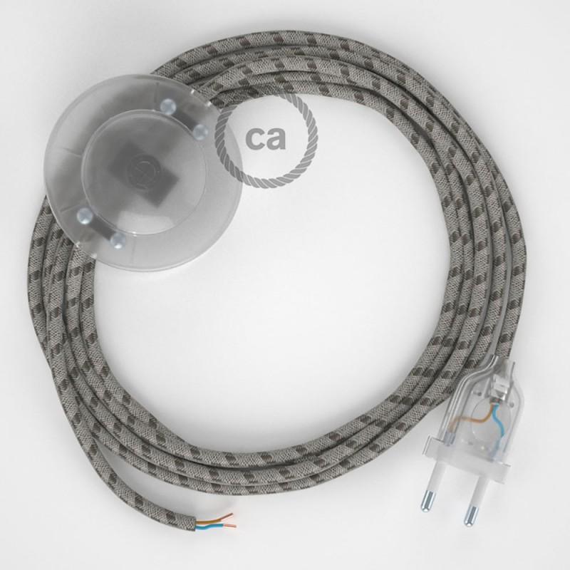 Cablaggio per piantana, cavo RD53 Cotone e Lino Naturale Stripes Corteccia 3 m. Scegli il colore dell'interruttore e della spina