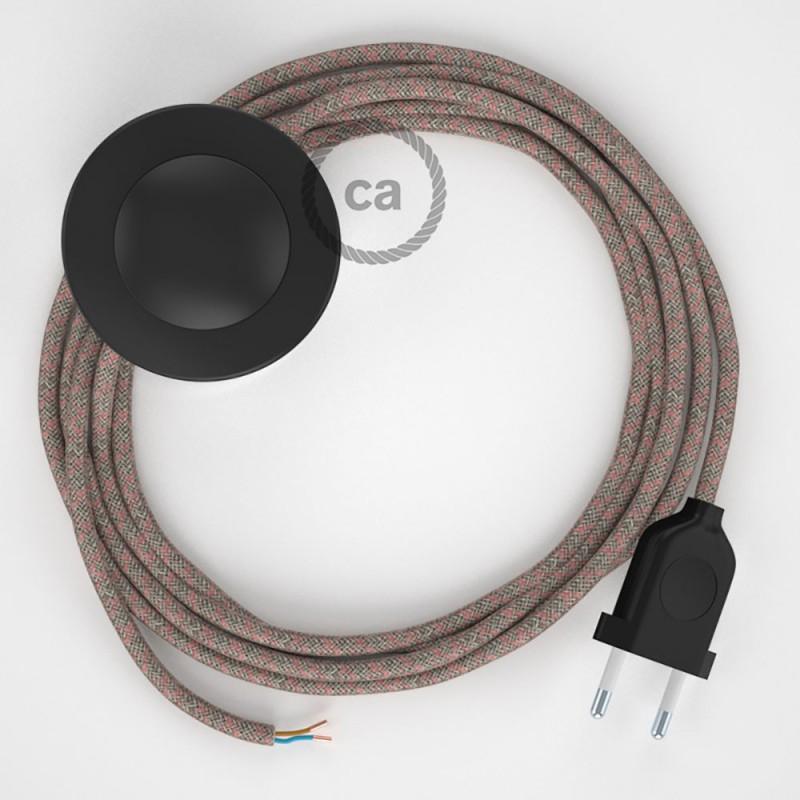 Cordon pour lampadaire, câble RD61 Losange Vieux Rose 3 m. Choisissez la couleur de la fiche et de l'interrupteur!