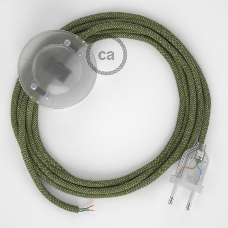Cordon pour lampadaire, câble RD72 ZigZag Vert Thym 3 m. Choisissez la couleur de la fiche et de l'interrupteur!