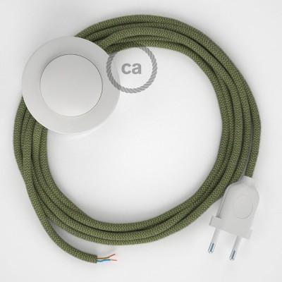 Stehleuchte Anschlussleitung RD72 Zick-Zack Thymian-Grün 3 m. Wählen Sie aus drei Farben bei Schalter und Stecke.
