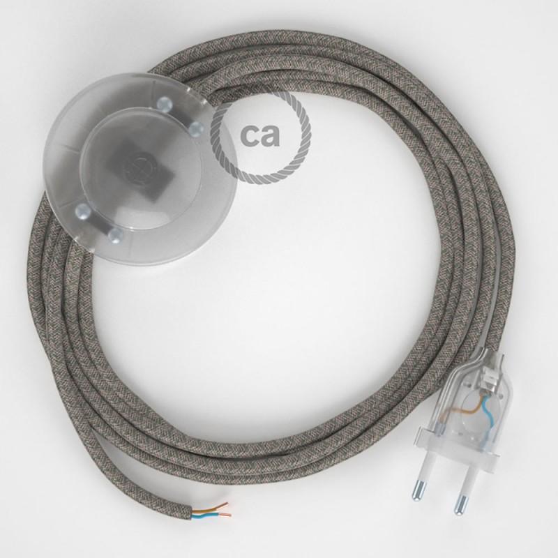 Cablaggio per piantana, cavo RD62 Cotone e Lino Losanga Verde Timo 3 m. Scegli il colore dell'interruttore e della spina.