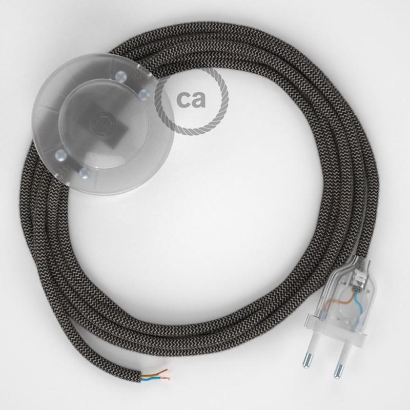 Stehleuchte Anschlussleitung RD74 Zick-Zack Anthrazit 3 m. Wählen Sie aus drei Farben bei Schalter und Stecke.