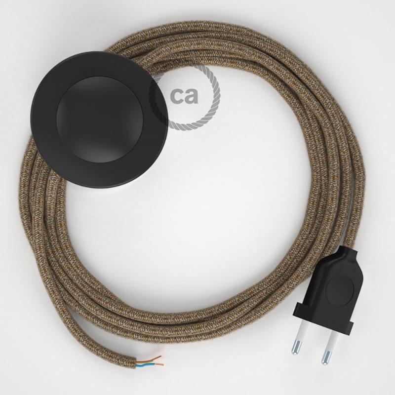Cordon pour lampadaire, câble RS82 Coton et Lin Naturel Marron 3 m. Choisissez la couleur de la fiche et de l'interrupteur!