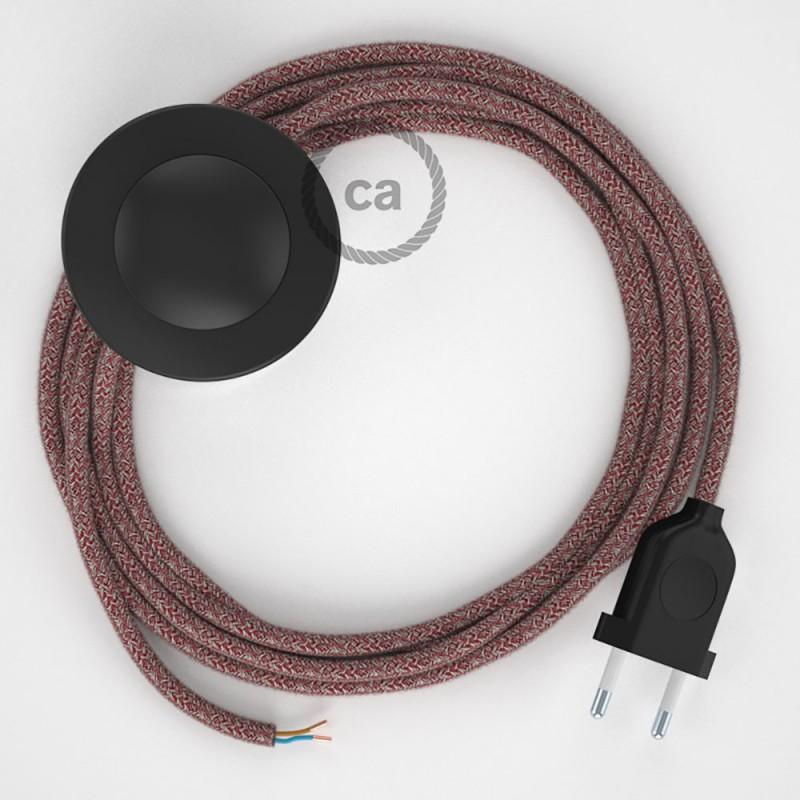 Cablaggio per piantana, cavo RS83 Cotone e Lino Naturale Rosso 3 m. Scegli il colore dell'interruttore e della spina.