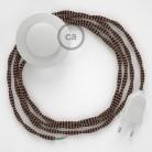 Cordon pour lampadaire, câble TZ22 Effet Soie Noir et Whiskey 3 m. Choisissez la couleur de la fiche et de l'interrupteur!